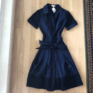 Shoshanna navy button up dress NWT